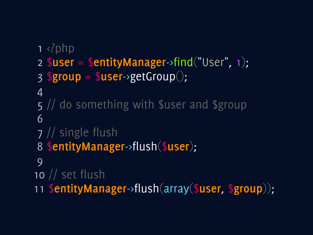 "1 <?php 2 $user = $entityManager->find(""User"", ..."