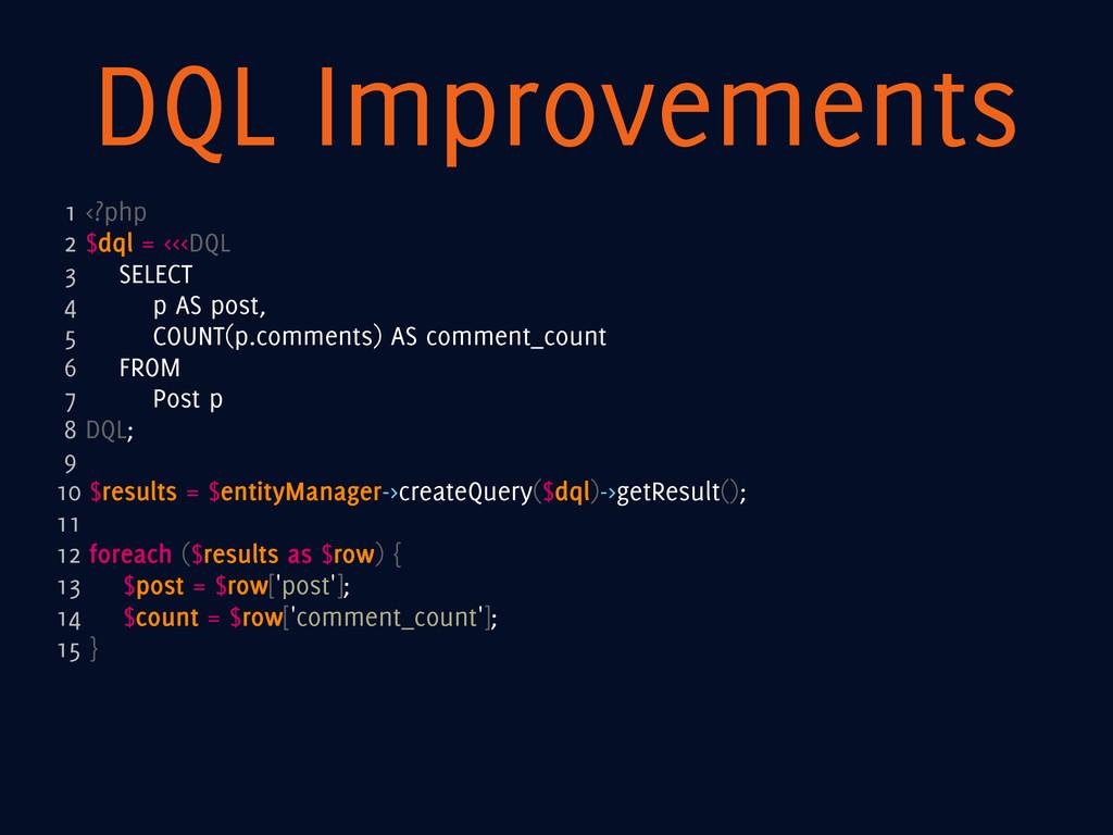 DQL Improvements 1 <?php 2 $dql = <<<DQL 3 SELE...