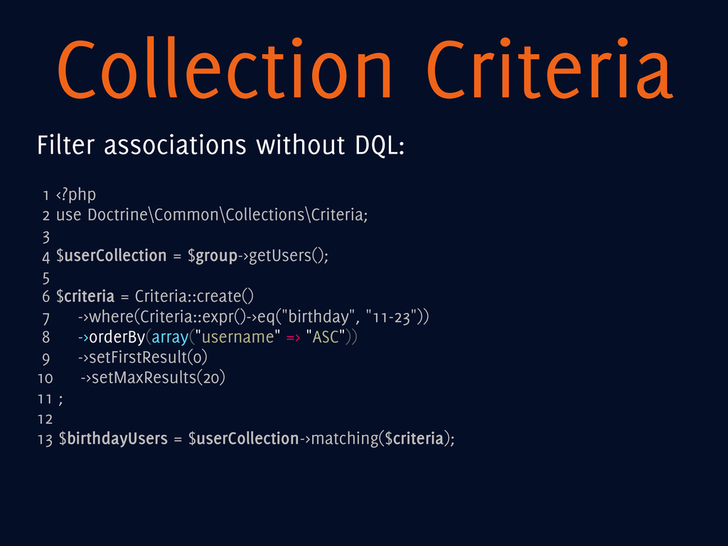 Collection Criteria Filter associations without...
