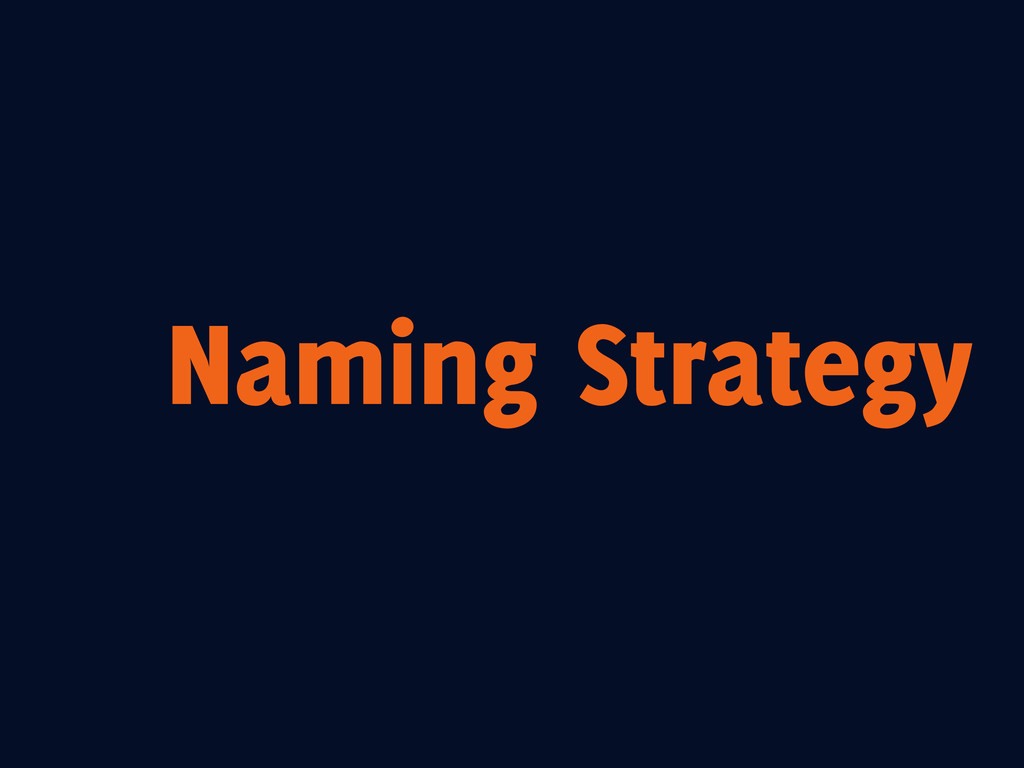 Naming Strategy