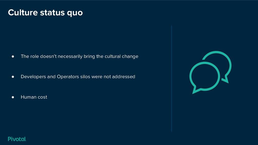 Culture status quo ● The role doesn't necessari...