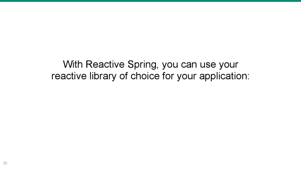 30 With Reactive Spring, you can use your react...