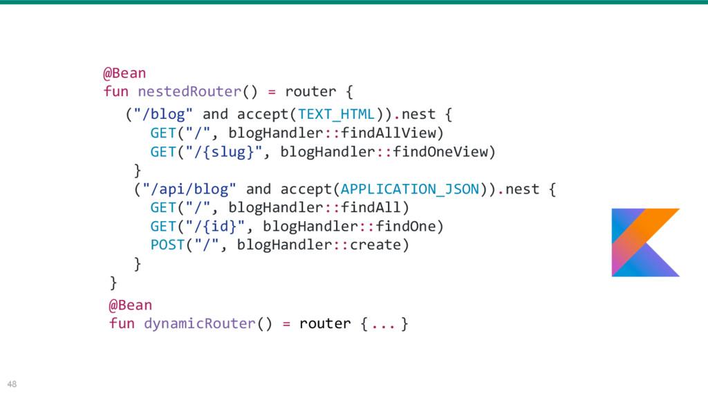 48 @Bean fun nestedRouter() = router { @Bean fu...