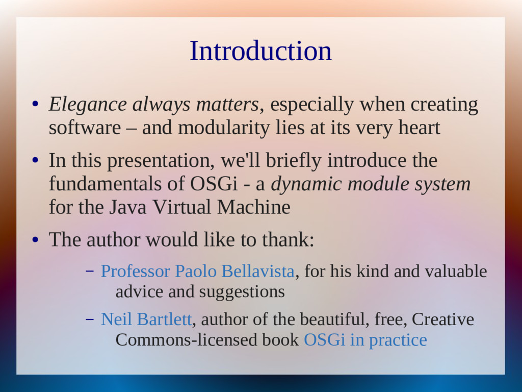 Introduction ● Elegance always matters, especia...