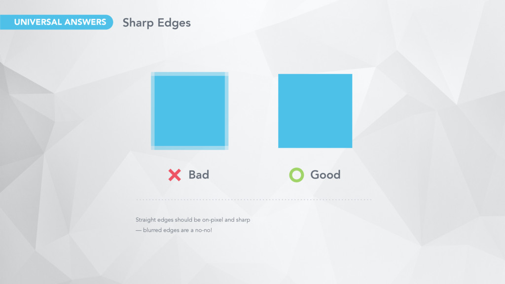 Straight edges should be on-pixel and sharp — b...