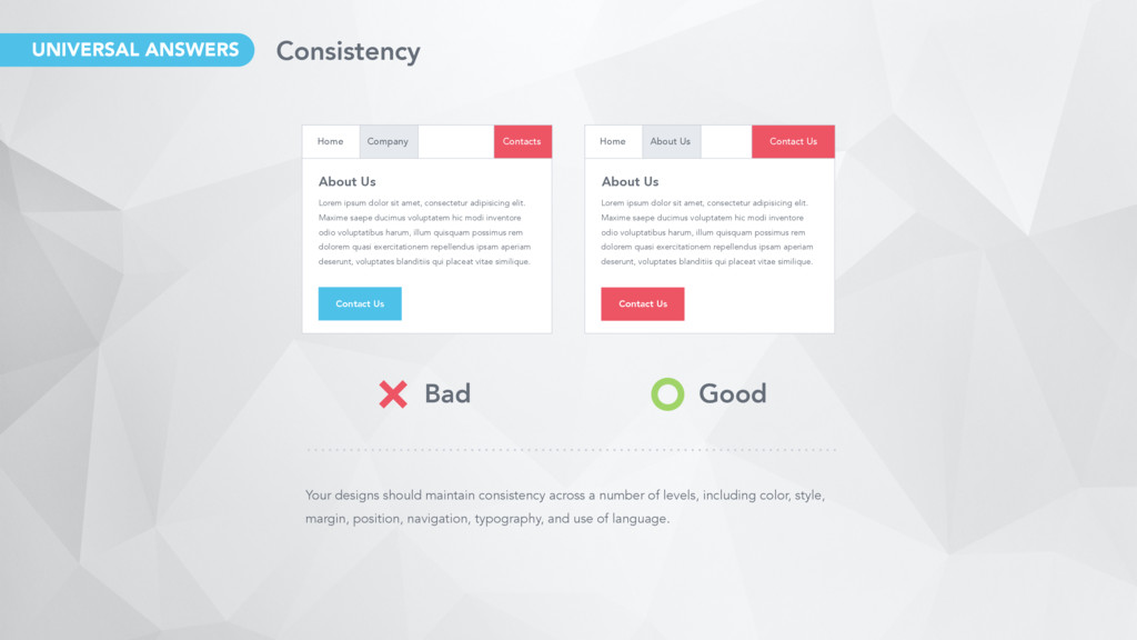 Your designs should maintain consistency across...