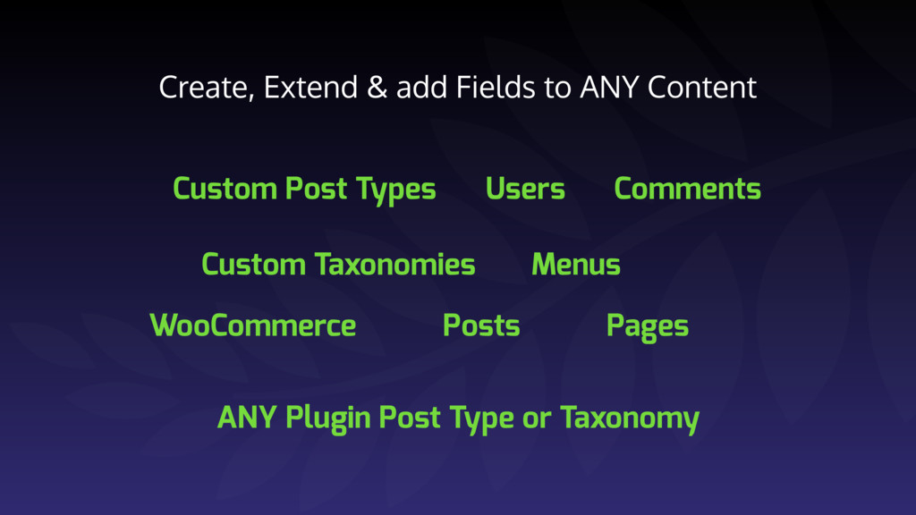 Create, Extend & add Fields to ANY Content Cust...