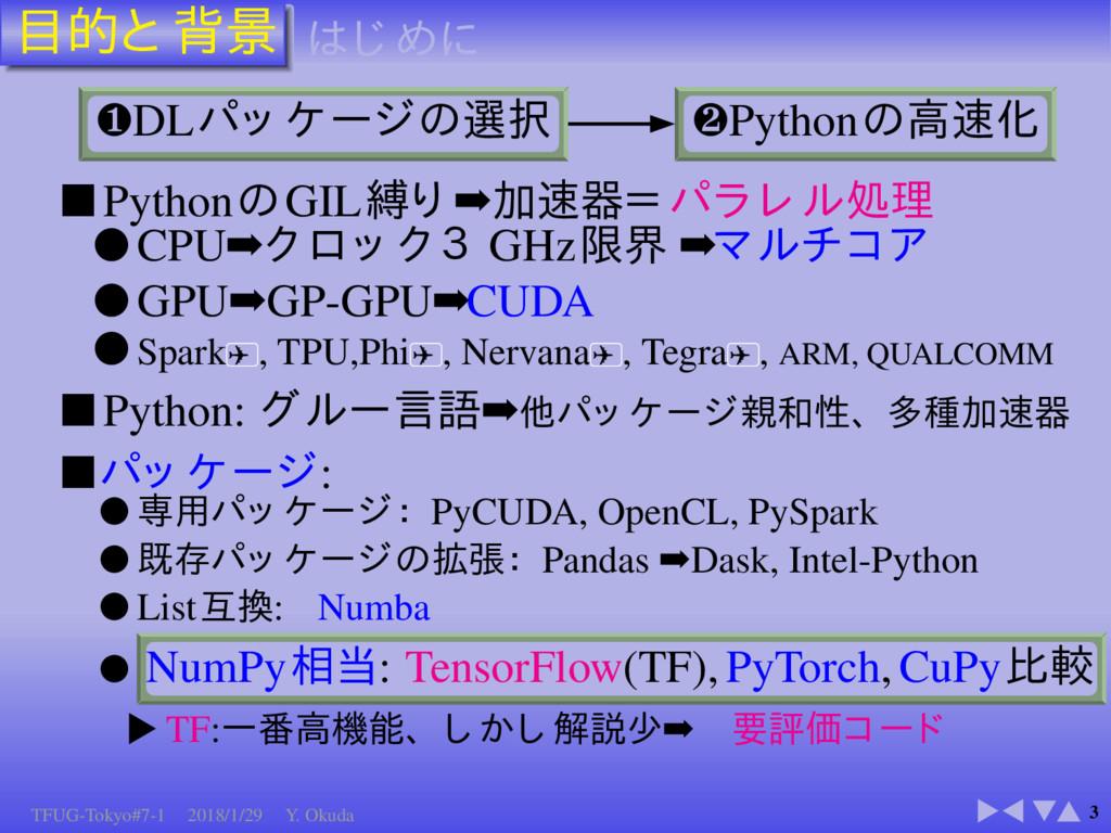 3 ❶DL ❷Python ■ Python GIL ➡ ● CPU➡ GHz ➡ ● GPU...