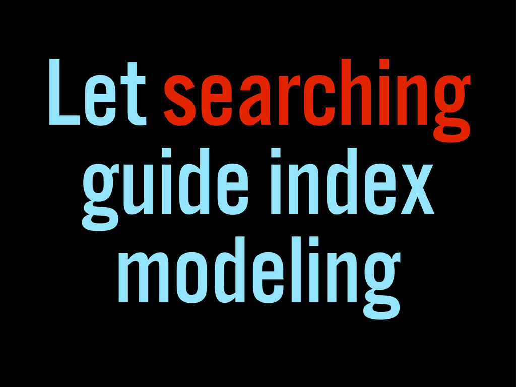 Let searching guide index modeling