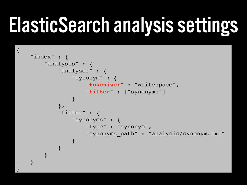 "ElasticSearch analysis settings { ""index"" : { ""..."