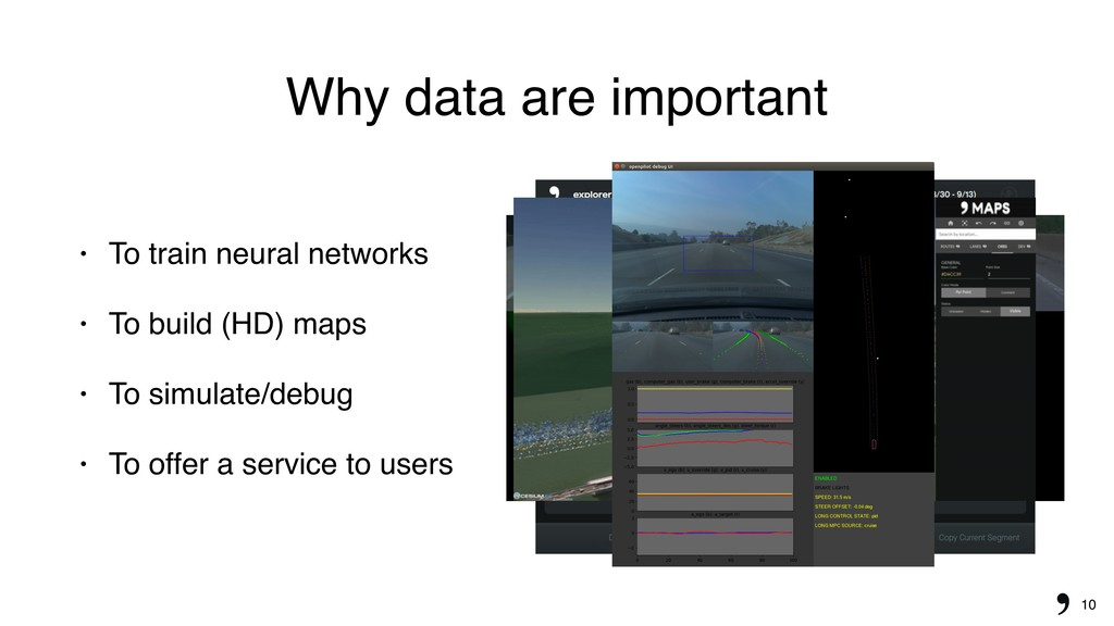 10 Why data are important • To train neural net...