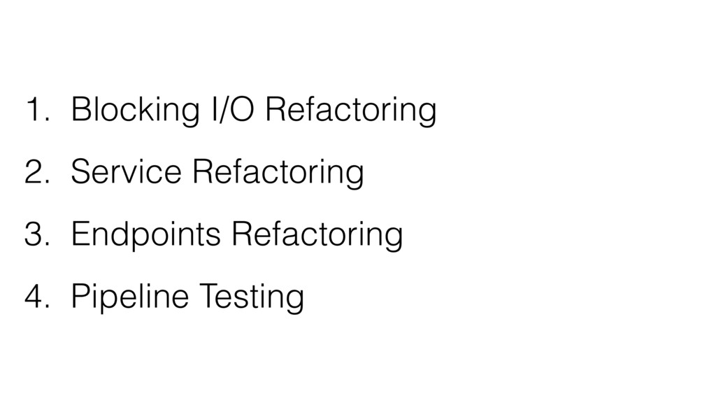 1. Blocking I/O Refactoring 2. Service Refactor...