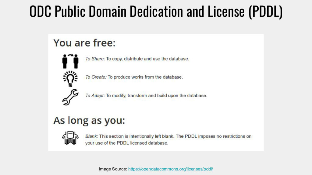 ODC Public Domain Dedication and License (PDDL)...