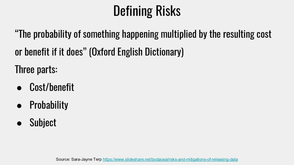 "Defining Risks ""The probability of something ha..."