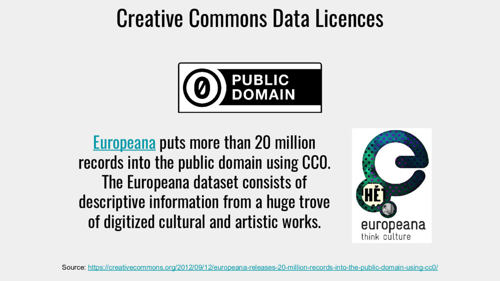 Creative Commons Data Licences Source: https://...