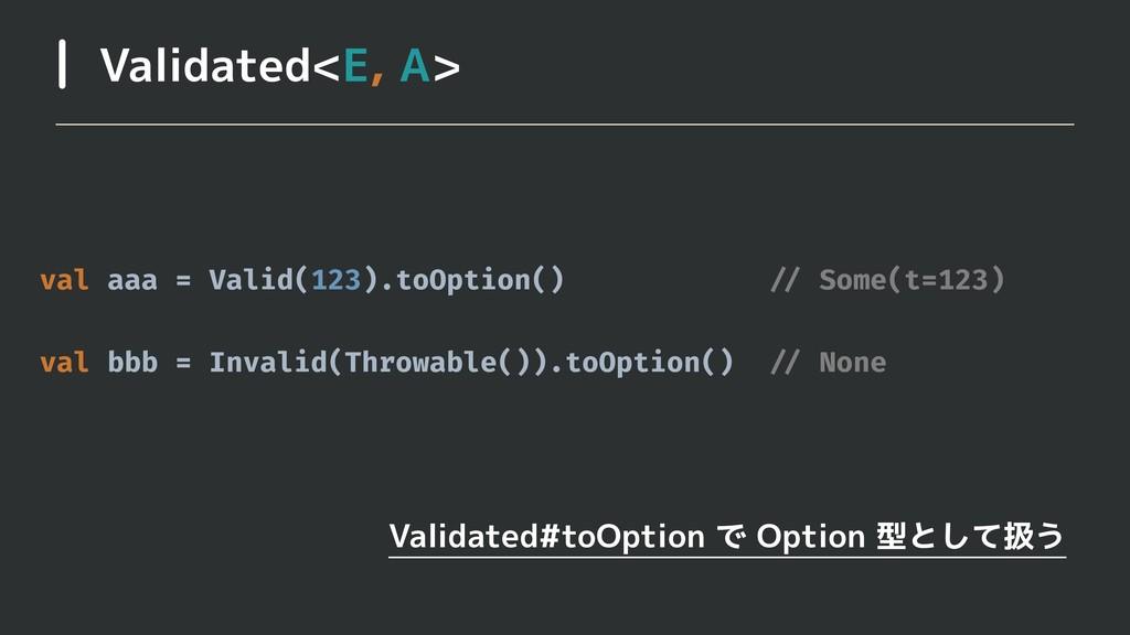 Validated<E, A> Validated#toOption で Option 型とし...