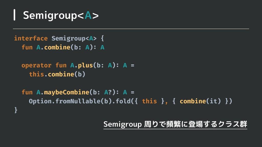 Semigroup<A> Semigroup 周りで頻繁に登場するクラス群 interface...