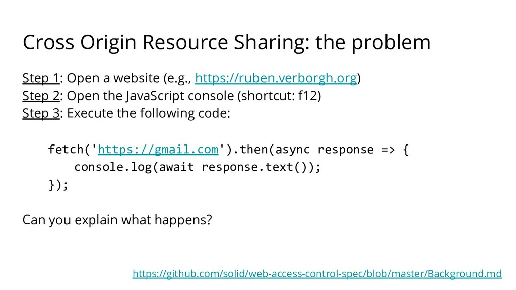 Cross Origin Resource Sharing: the problem Step...