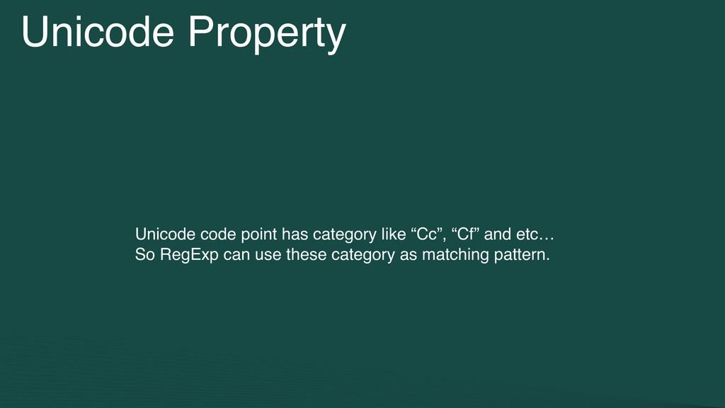 Unicode Property Unicode code point has categor...