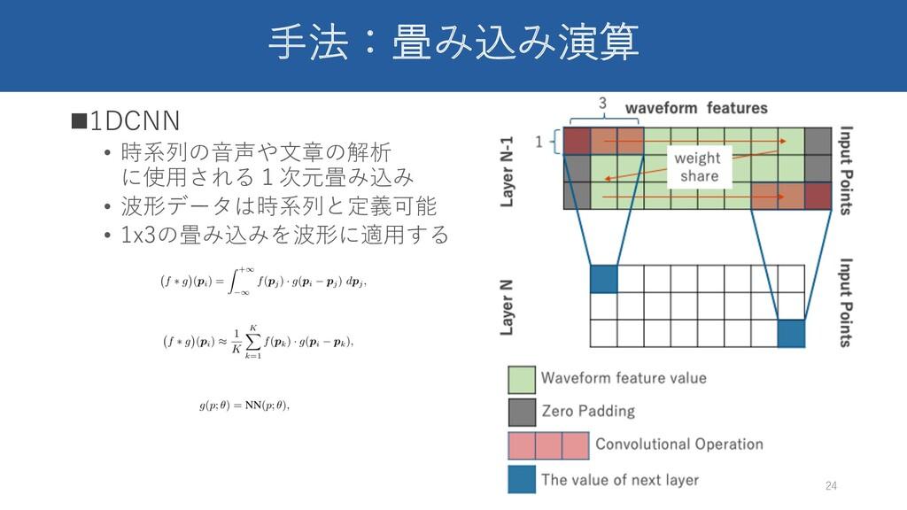 ⼿法:畳み込み演算 n1DCNN • 時系列の⾳声や⽂章の解析 に使⽤される1次元畳み込み •...