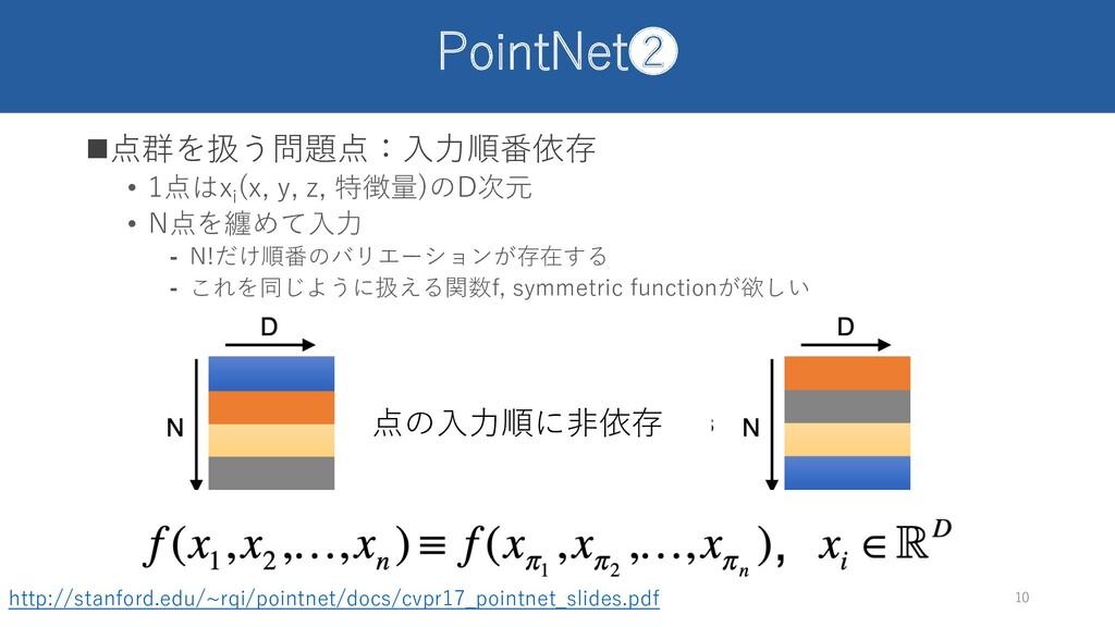 PointNet❷ n点群を扱う問題点:⼊⼒順番依存 • 1点はxi (x, y, z, 特徴...