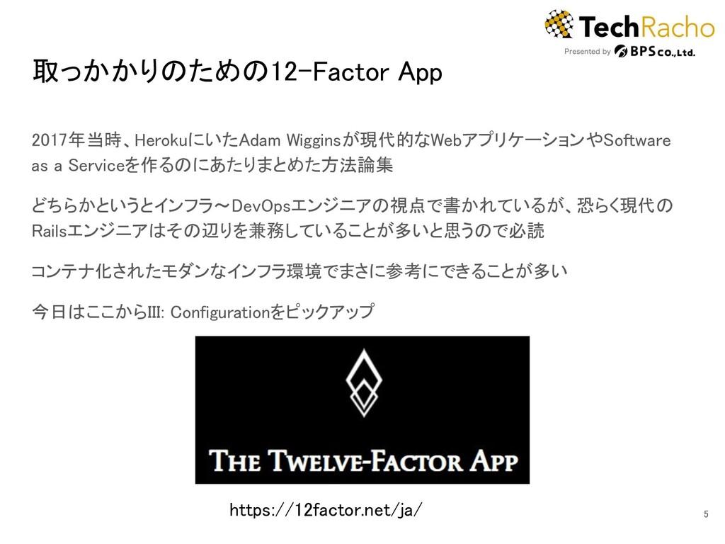 取っかかりのための12-Factor App 2017年当時、HerokuにいたAdam W...