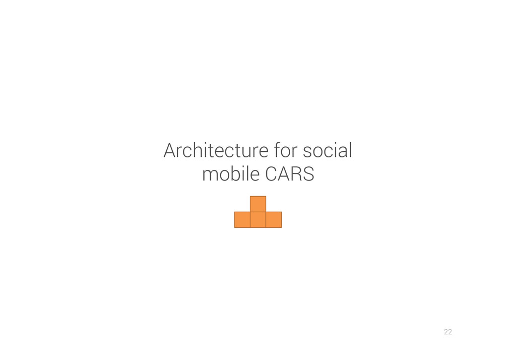 22 Architecture for social mobile CARS