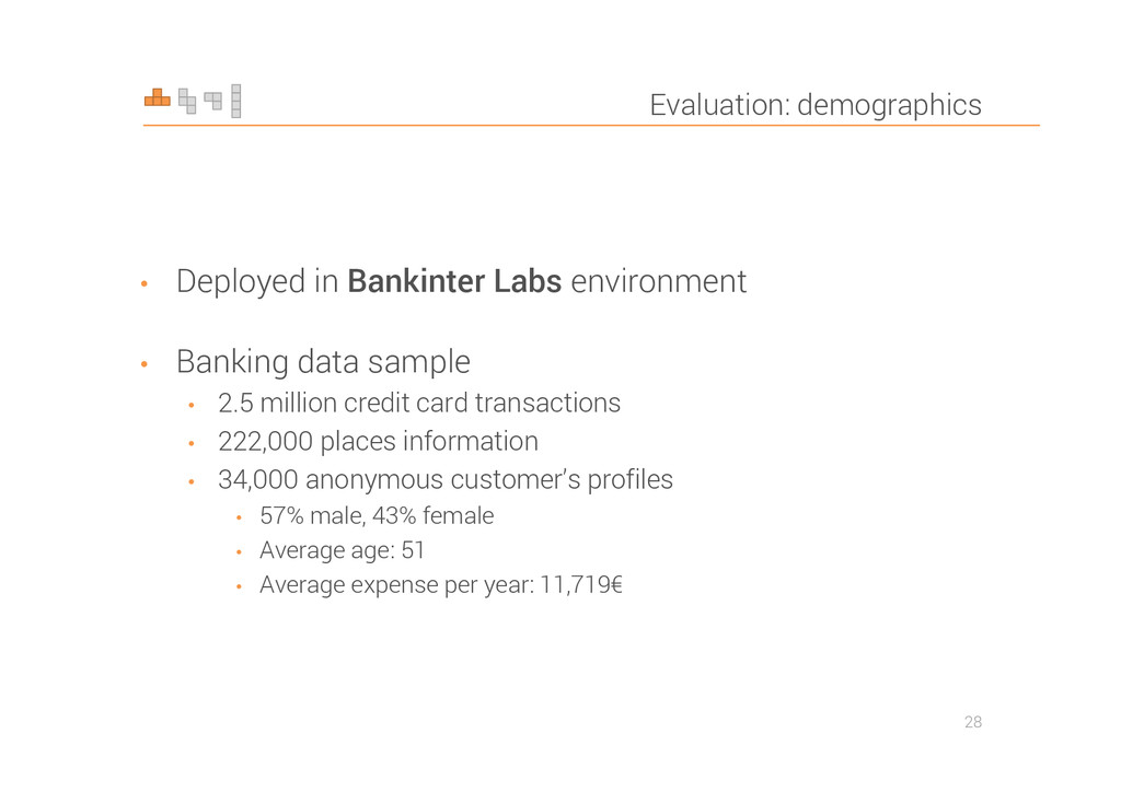 Evaluation: demographics • Deployed in Bankinte...