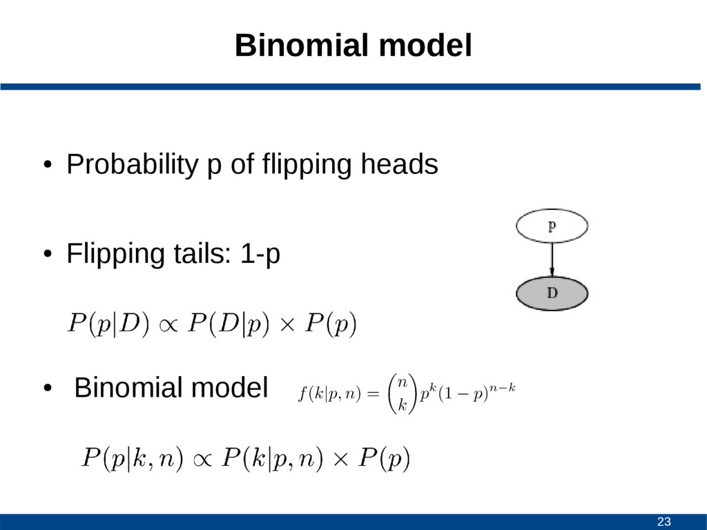23 Binomial model ● Probability p of flipping h...
