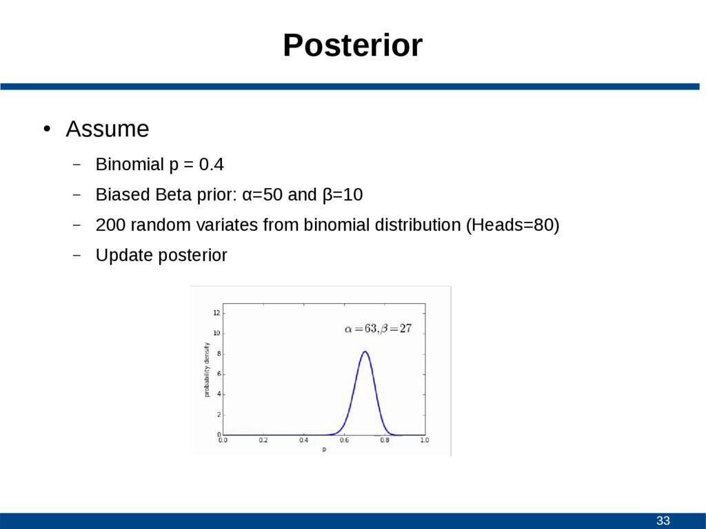 33 Posterior ● Assume – Binomial p = 0.4 – Bias...