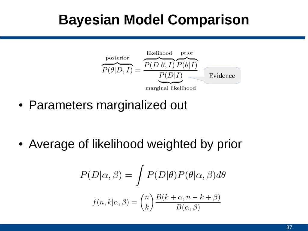 37 Bayesian Model Comparison ● Parameters margi...