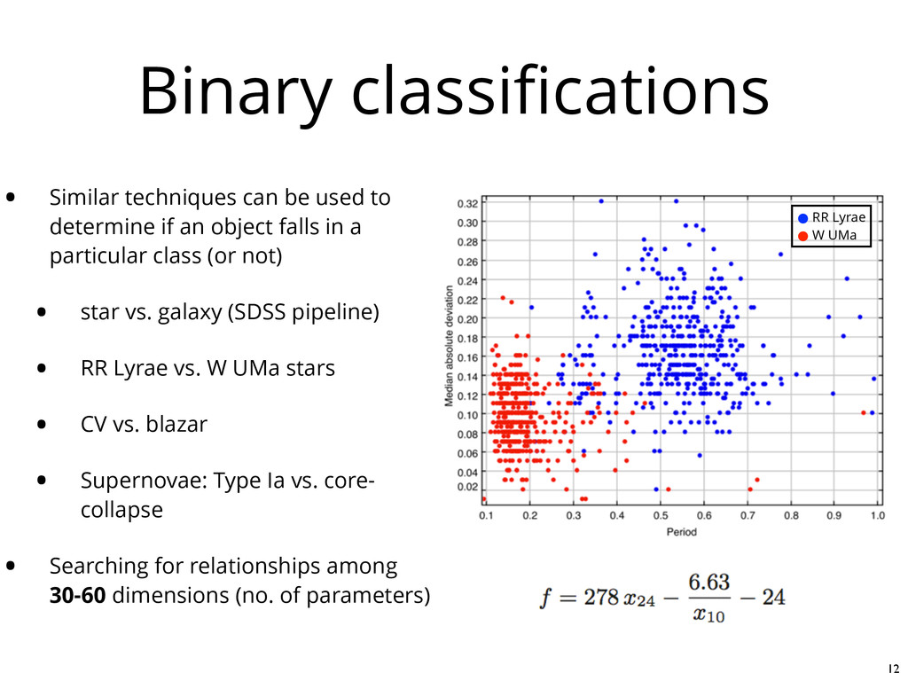 Binary classifications • Similar techniques can ...