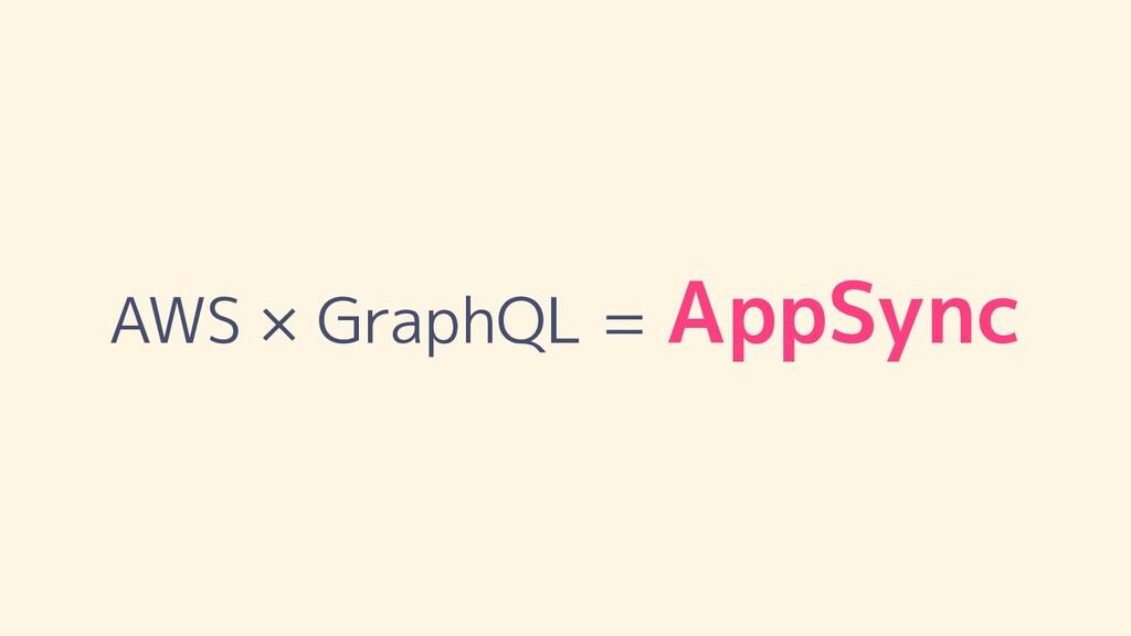 AWS × GraphQL = AppSync