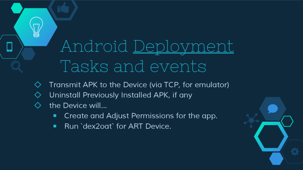 Android Deployment Tasks and events ◇ Transmit ...
