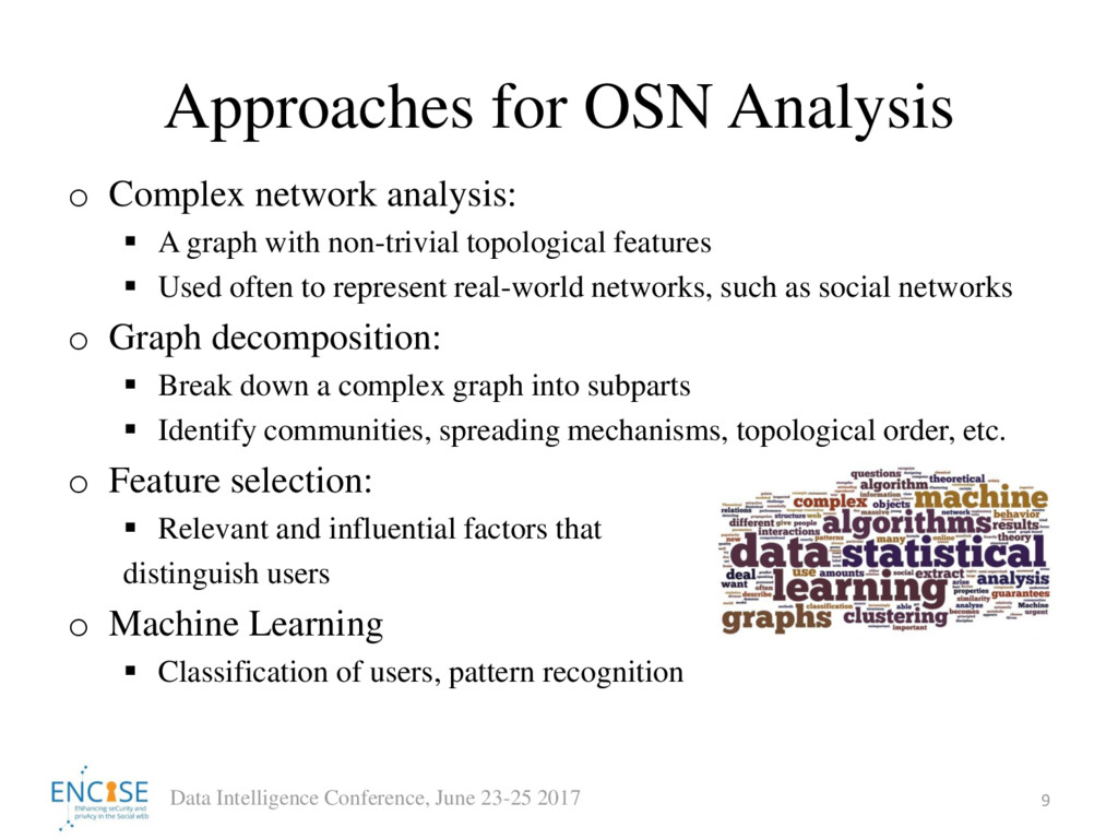 Approaches for OSN Analysis o Complex network a...