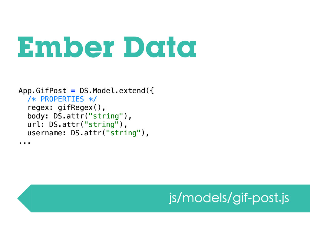 Ember Data js/models/gif-post.js App.GifPost = ...