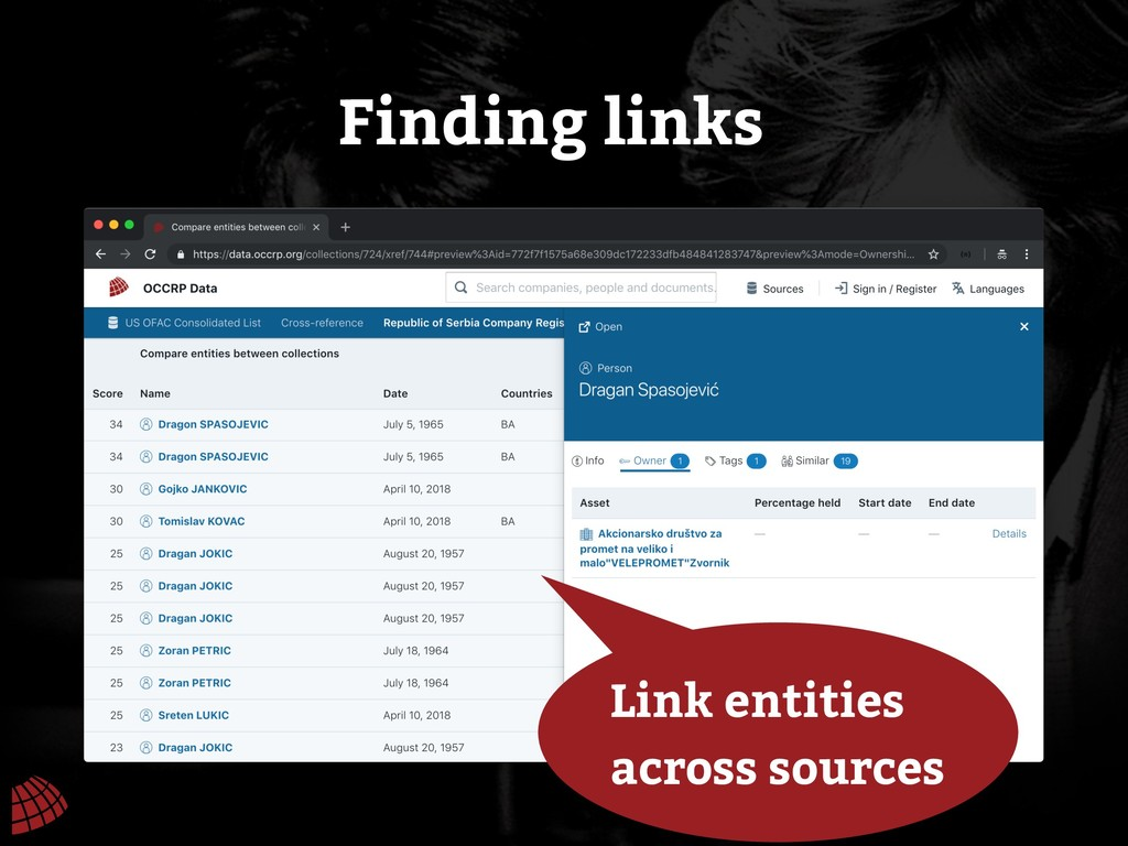 Finding links Link entities across sources