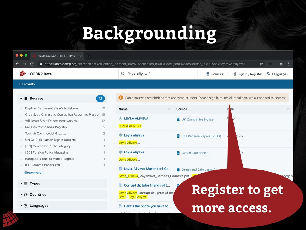 Backgrounding Register to get more access.