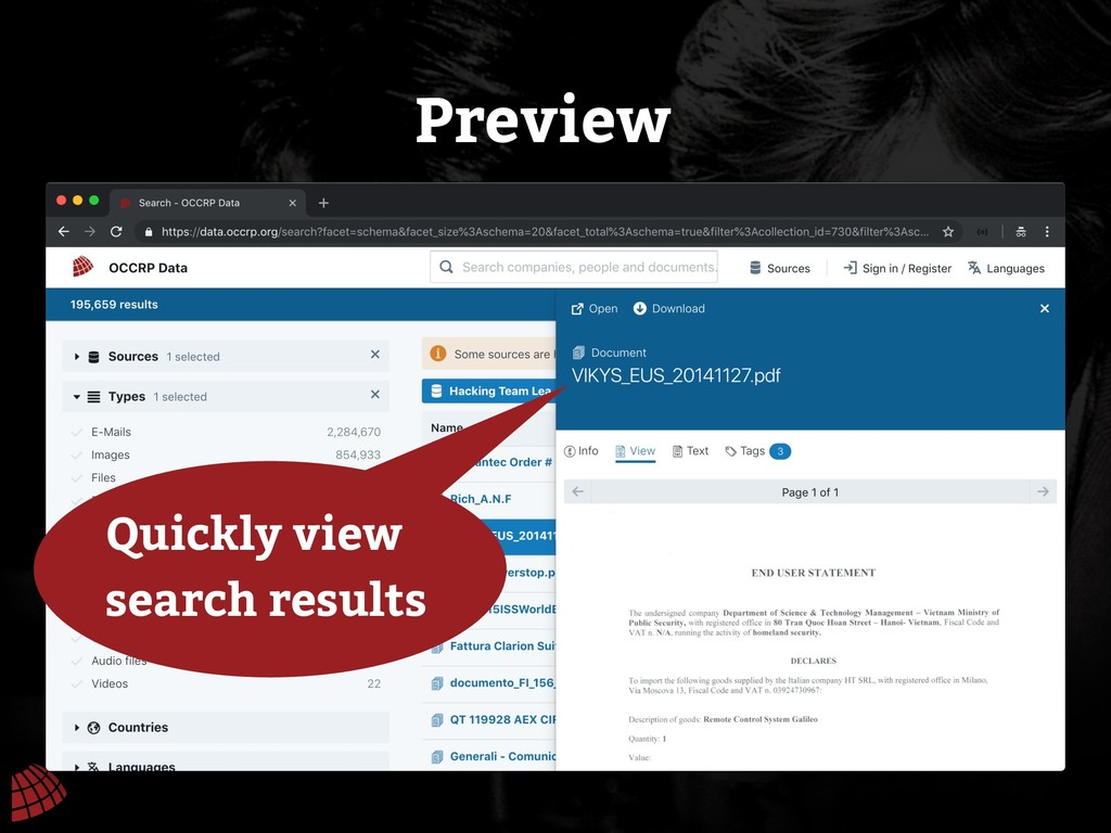 Preview Quickly view search results