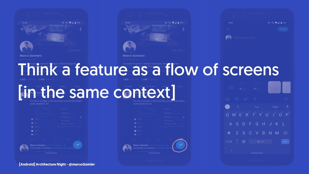 Think a feature as a flow of screens [in the sa...