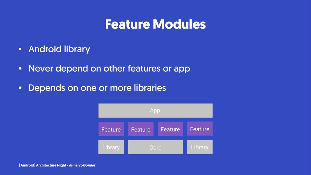 Feature Modules • Android library • Never depen...