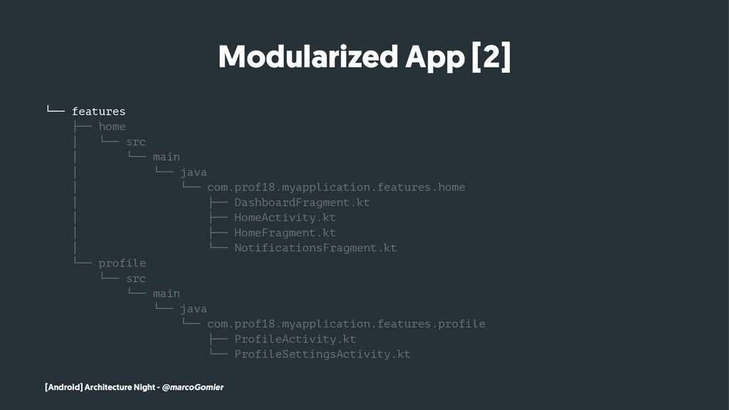 Modularized App [2] └── features ├── home │ └──...