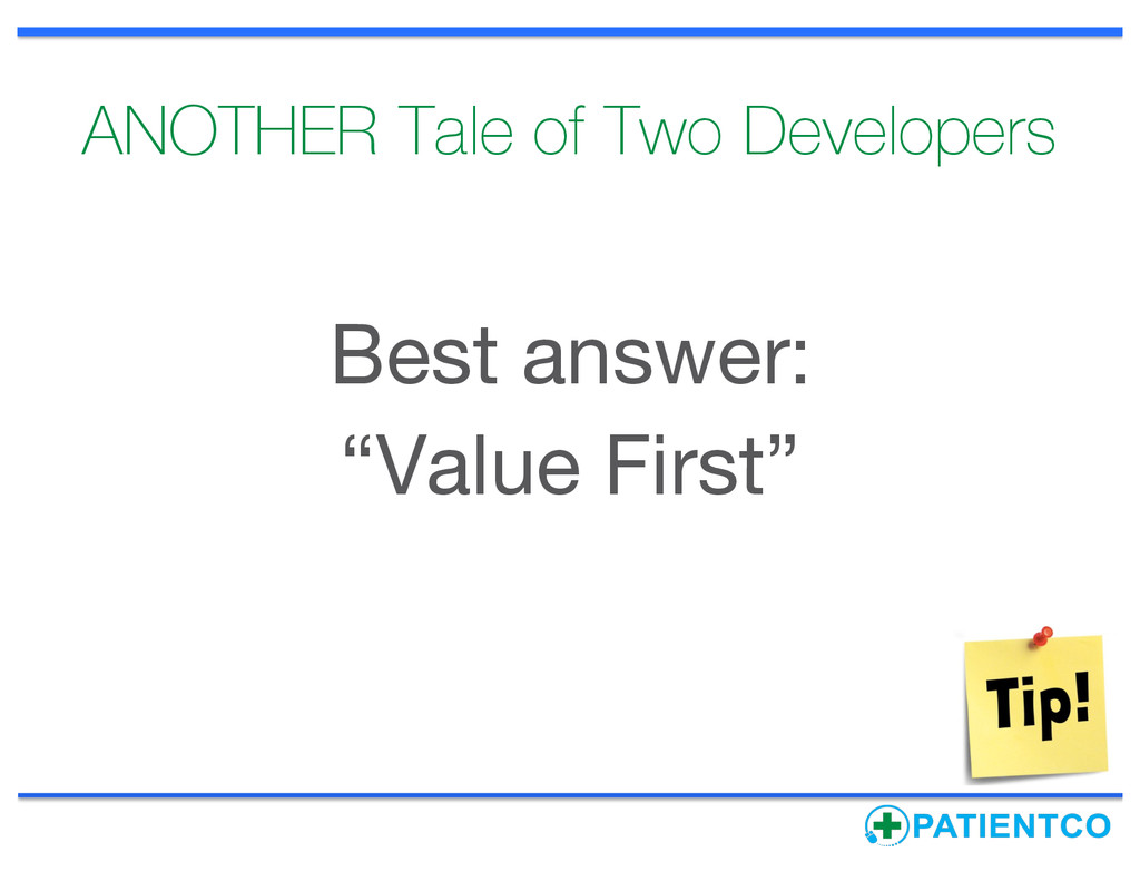 """ANOTHER Tale of Two Developers Best answer: """"Va..."""