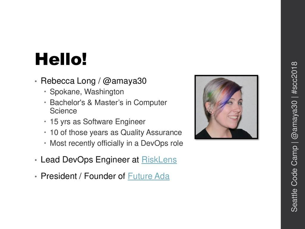 Hello! • Rebecca Long / @amaya30  Spokane, Was...