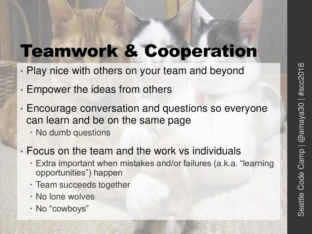Teamwork & Cooperation • Play nice with others ...
