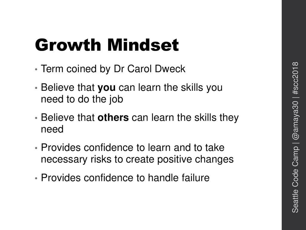 Growth Mindset • Term coined by Dr Carol Dweck ...