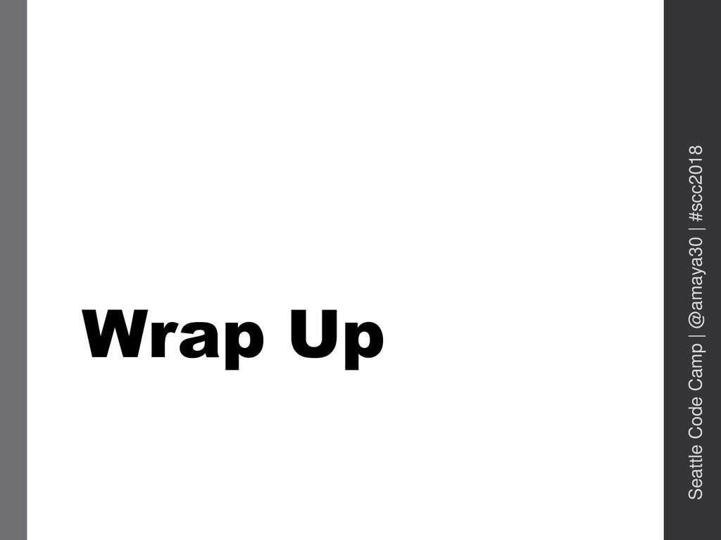Wrap Up Seattle Code Camp   @amaya30   #scc2018