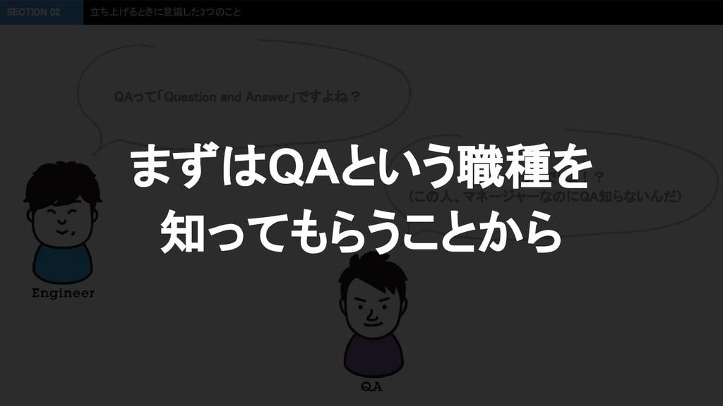 QAって「Question and Answer」ですよね?  SECTION 02 立ち...