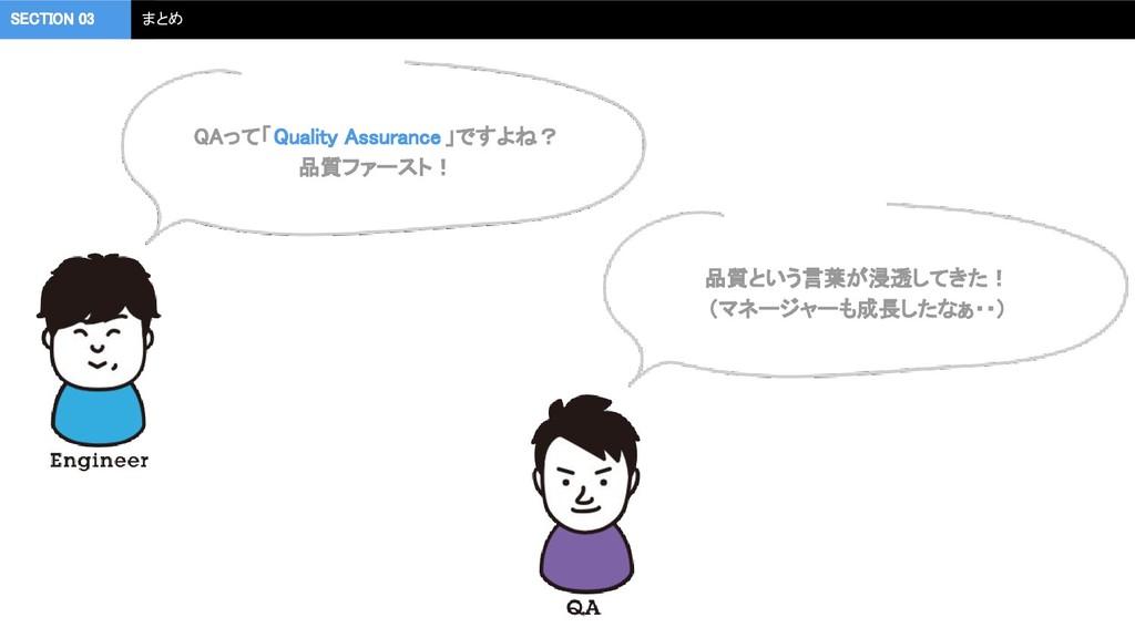 QAって「Quality Assurance」ですよね? 品質ファースト! SECTION...