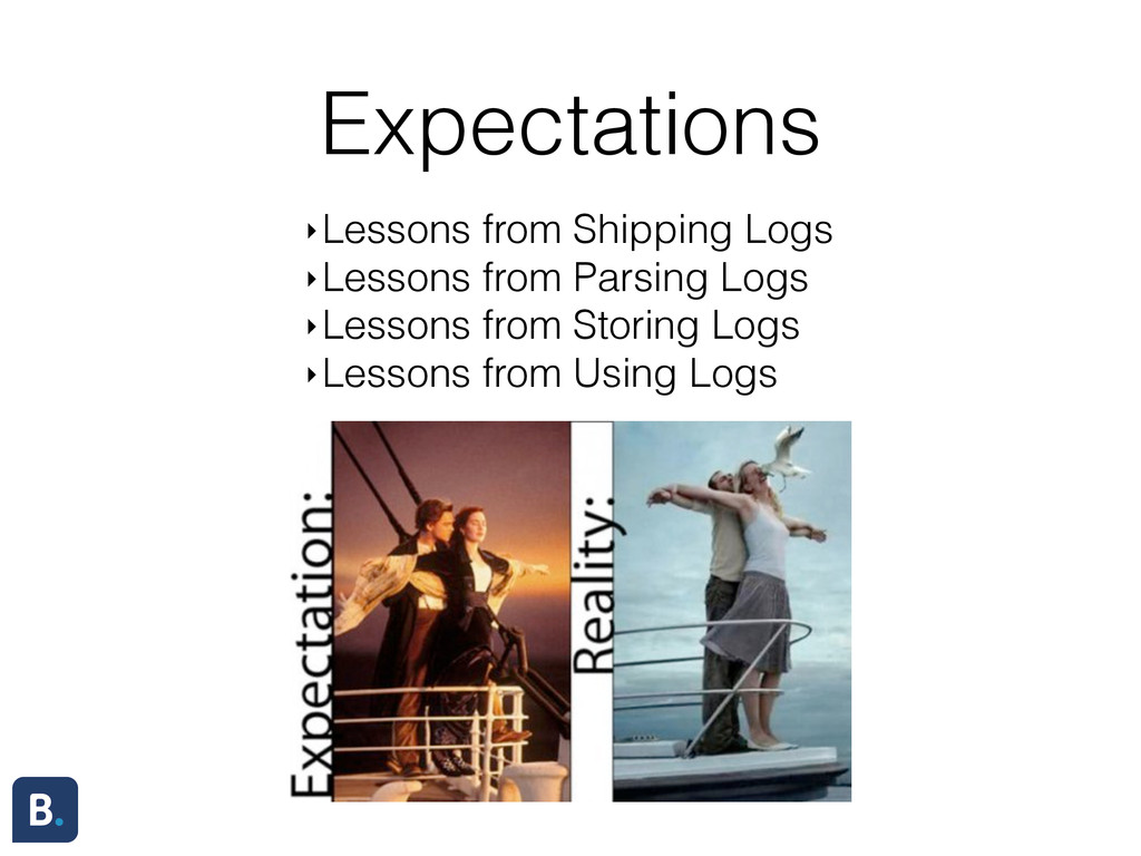 Expectations ‣Lessons from Shipping Logs ‣Lesso...